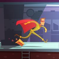 Ilustração de super-herói em execução vetor