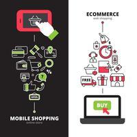 Compras on-line móveis 2 banners verticais definido vetor