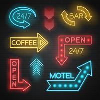 Conjunto de setas de Neon Motel e Bar vetor