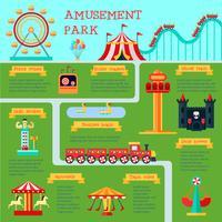 Conjunto de infográfico de parque de diversões