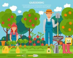 Cartaz colorido do conceito de família fazendeiro com crescente frutas legumes e ferramentas de jardinagem plana poste