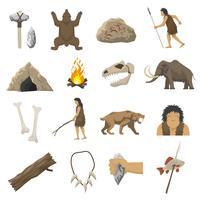 Ícones da Idade da Pedra vetor