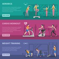 Banners de treinamento de ginástica de fitness vetor