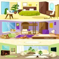 Banners de interiores de sala de estar horizontal dos desenhos animados