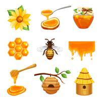 Conjunto de ícones isolados de mel vetor