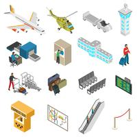 Conjunto de ícones do aeroporto vetor
