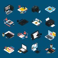 Ícones isométricos de Design gráfico