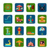 Conjunto de ícones quadrados de parque de diversões