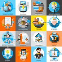 Conjunto de ícones de cor plana de educação on-line