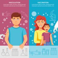 Conjunto de Banner de vacinação infantil e adulto vetor