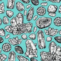 Padrão sem emenda de cristal de pedras vetor