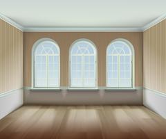 Quarto com ilustração de janelas arqueadas