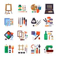 Conjunto de ícones de ferramentas e materiais de arte vetor