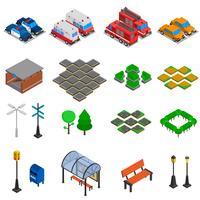 Conjunto de elementos de infra-estrutura de cidade vetor