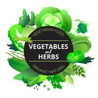 Ervas de legumes redondo quadro verde
