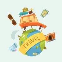Viajar ao redor do conceito mundial vetor