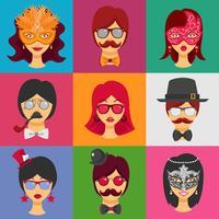 Rostos de pessoas em máscaras de carnaval vetor
