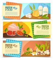 Conjunto de Banners horizontais plana de alimentos de proteína vetor