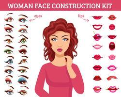 Kit de construção de rosto de mulher vetor
