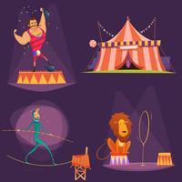Conjunto de ícones de desenhos animados de circo retrô vetor