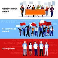Banners de pessoas de protesto de demonstração