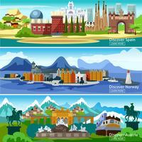 Conjunto de Banners Turisticos Europeus vetor