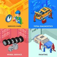 conceito de design isométrica do serviço de carro 2 x 2