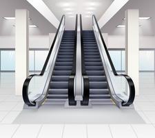 Acima e para baixo conceito interior das escadas rolantes