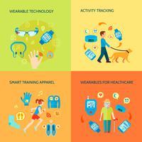 Conjunto de ícones de conceito de gadgets wearable
