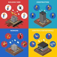 Conjunto de ícones de conceito isométrico de construção vetor