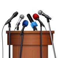 Microfones e tribuna para conjunto de conferência vetor