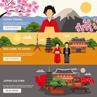 Conjunto de Banners horizontais de cultura japonesa 3 vetor