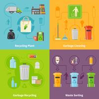 Conjunto de ícones de conceito de reciclagem de lixo