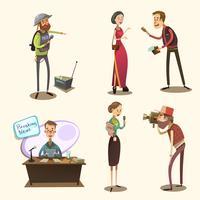 Conjunto de desenhos animados retrô de jornalista