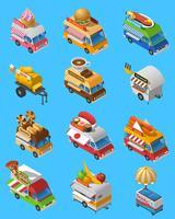 Conjunto de ícones isométrica de caminhões de comida de rua