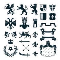 Coleção de emblemas heráldicos de símbolos preto