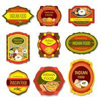 Emblemas coloridos de comida indiana vetor