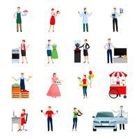 Conjunto de ícones decorativos de vendedores