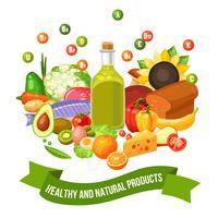 Poster de produtos alimentares de vitamina vetor