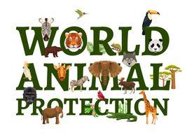 Ilustração de proteção animal selvagem vetor