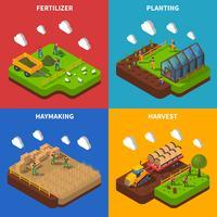 Conjunto de ícones de conceito isométrico de agricultor