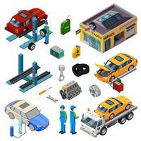 Ícones decorativos isométricos de serviço de carro