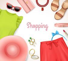Quadro de acessórios de roupas femininas vetor