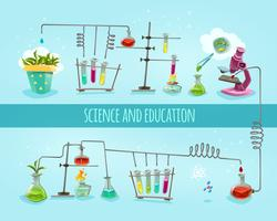 Banner plana de laboratório de ciência e educação