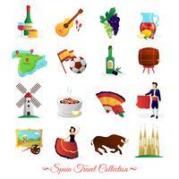 Conjunto de símbolos culturais da Espanha para viajantes vetor