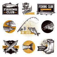 Emblemas de logotipo de pesca vetor