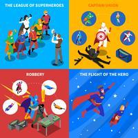 Conjunto de ícones isométrica de conceito de super-herói vetor