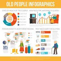 Banner de infográfico plano vida pessoas de envelhecimento vetor