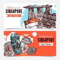 Banners de esboço desenhado de mão de Singapura vetor