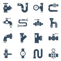 Conjunto de ícones brancos pretos de tubos